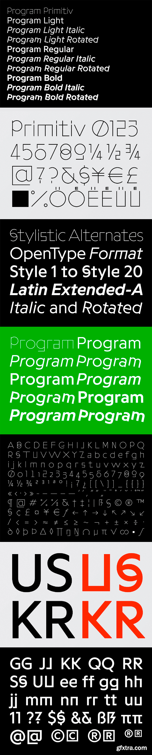 Programme Font Family - 19 Fonts for $516