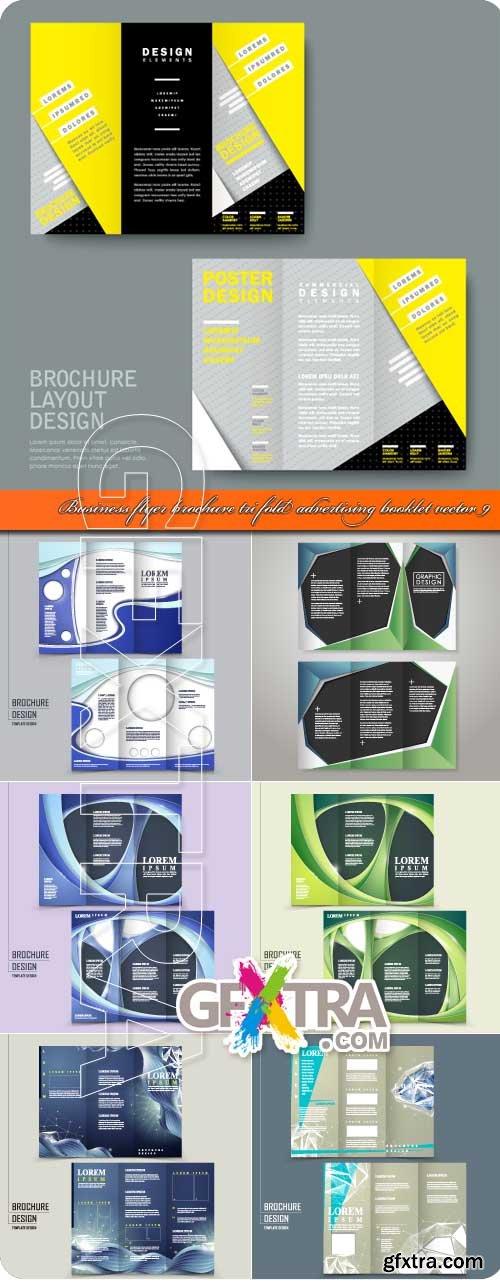 Business flyer brochure tri fold advertising booklet vector 9