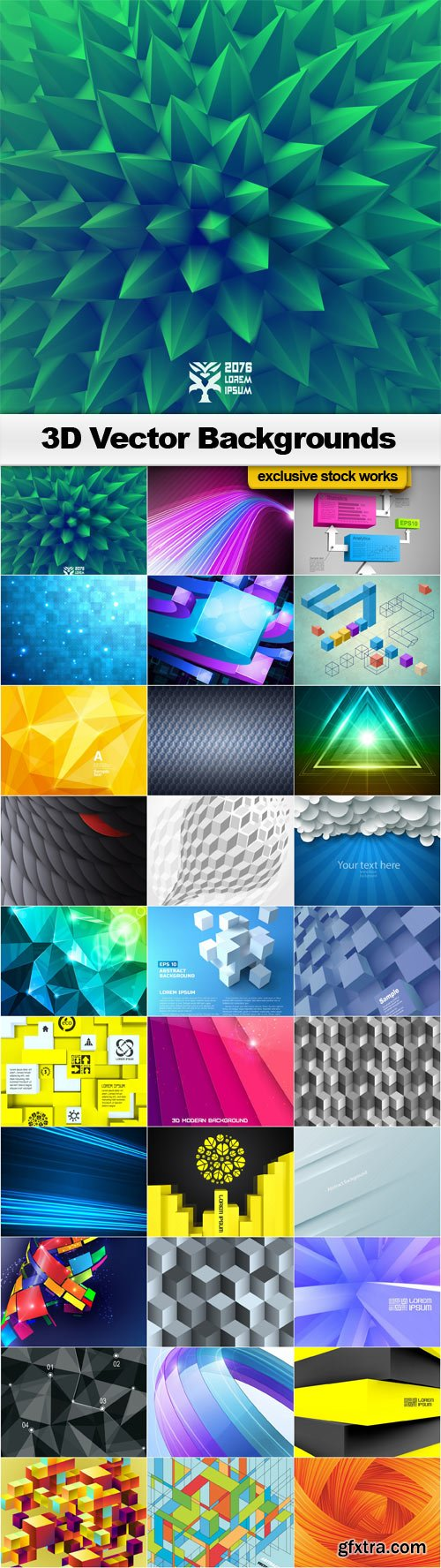 3D Vector Backgrounds - 30x EPS