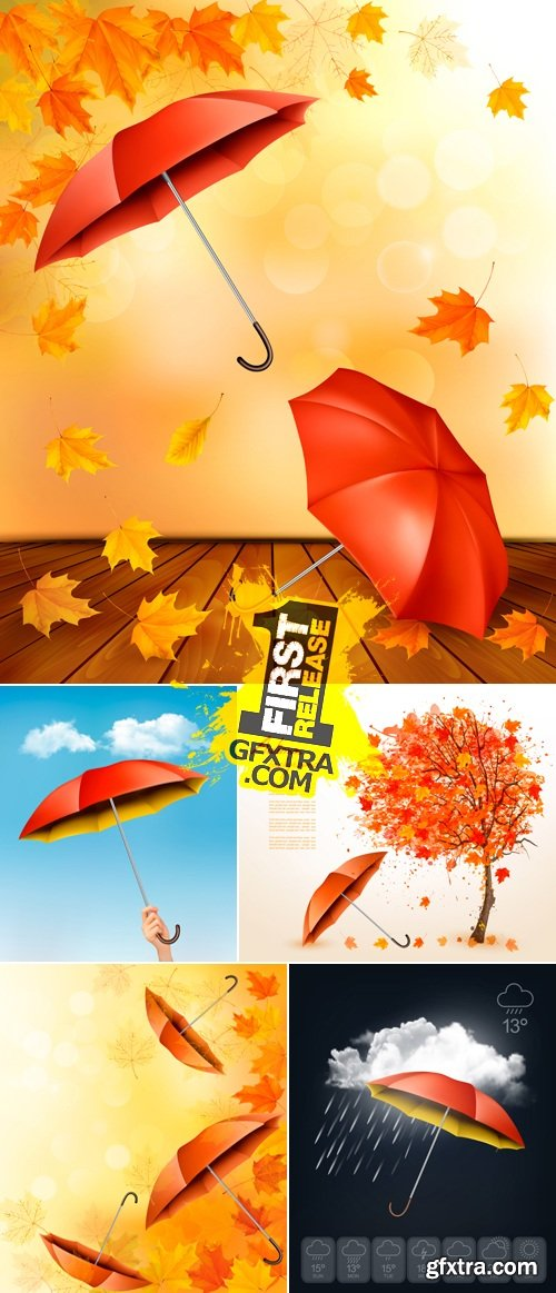 Umbrella & Autumn Leaves Backgrounds Vector