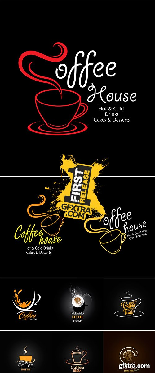 Stock Vector coffee cup label concept menu
