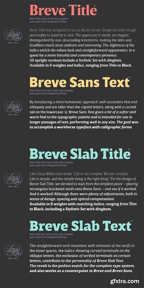 Breve Font Bundle - 8 Font Family 100 Fonts 5.000$