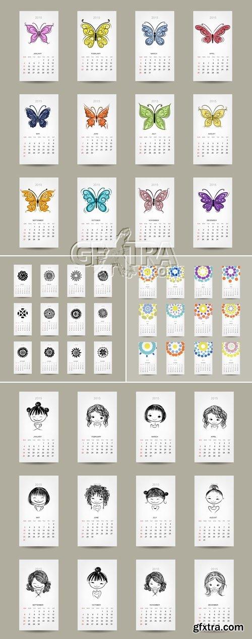 Calendars 2015 Cards Vector