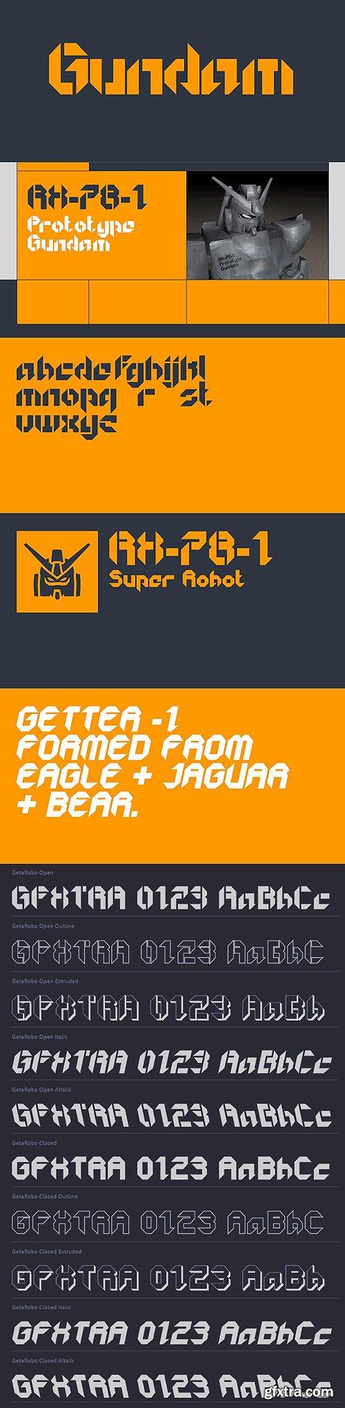 GetaRobo Font Family 10xOTF $247