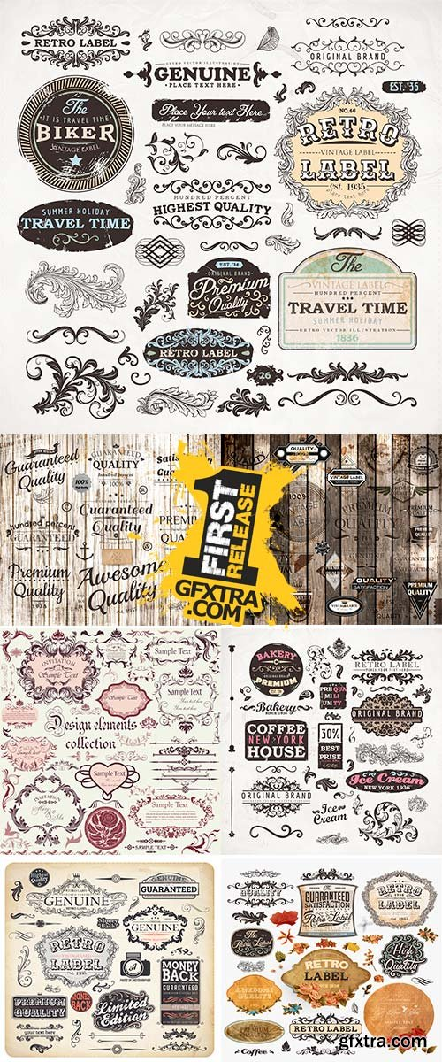 Stock Retro label style collection, vintage page elements set