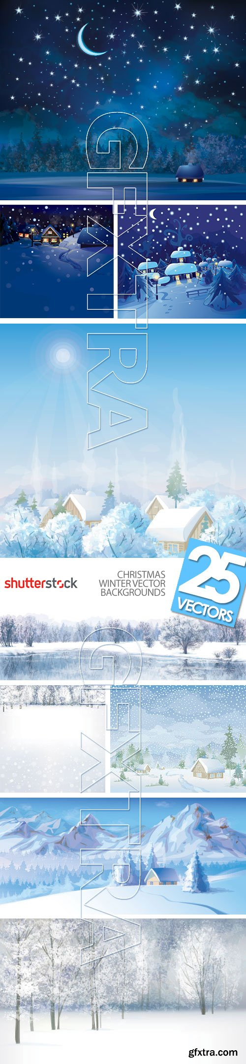 Christmas Winter Vector Backgrounds 30xEPS