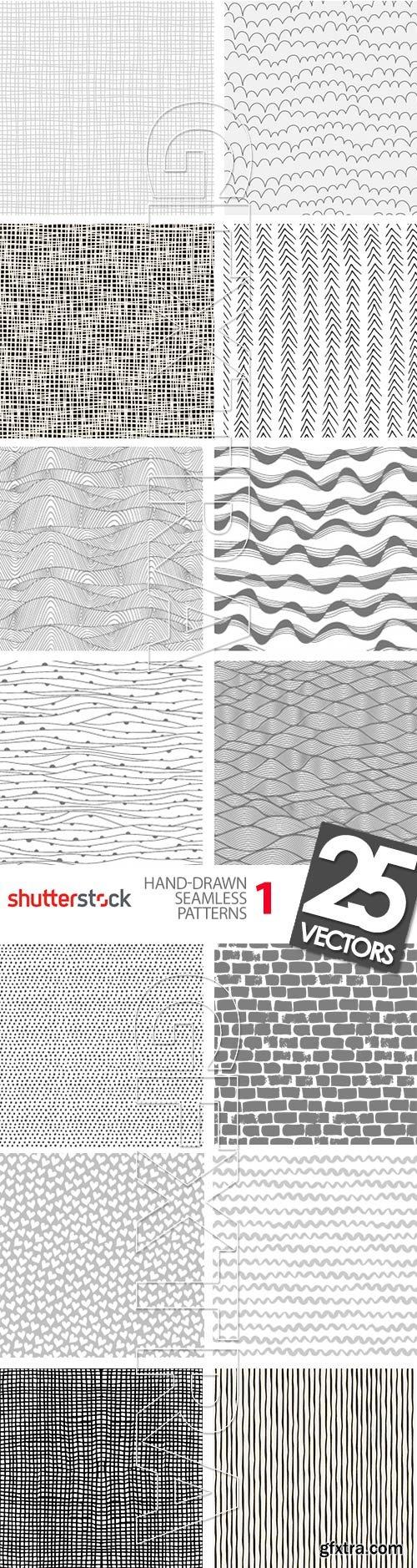 Hand-Drawn Seamless Patterns 1, 25xEPS