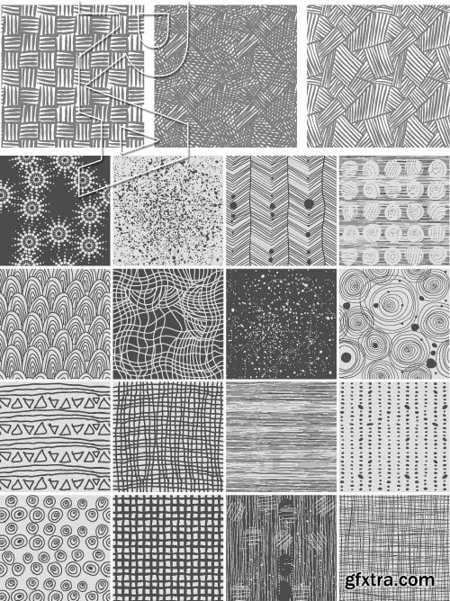 Hand-Drawn Seamless Patterns 2, 25xEPS