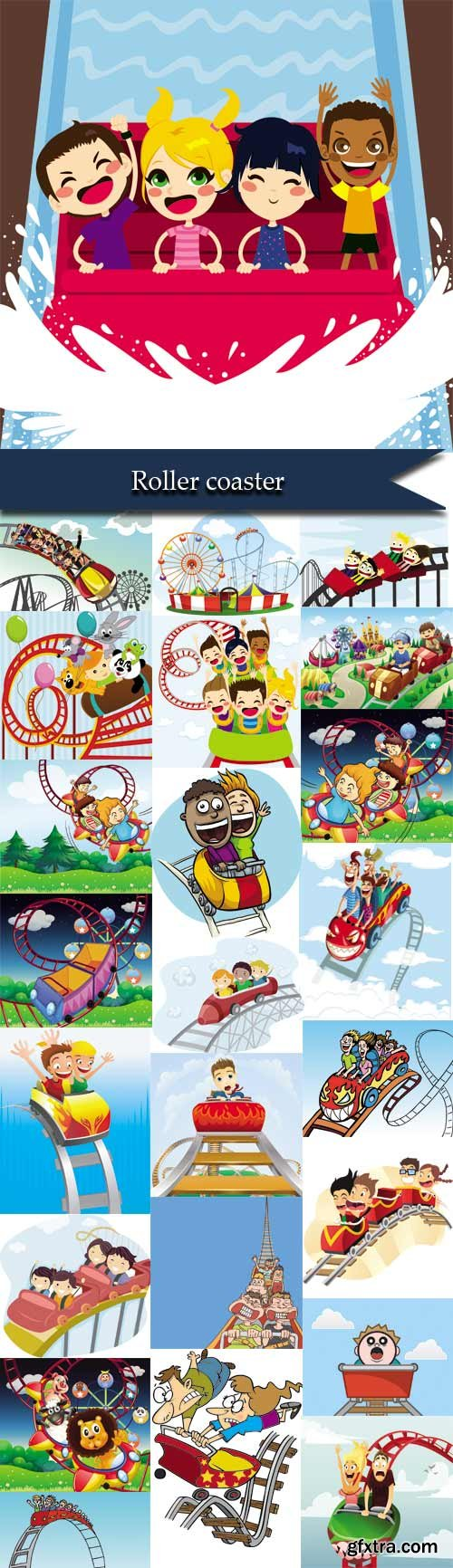 Cartoons children on a roller coaster
