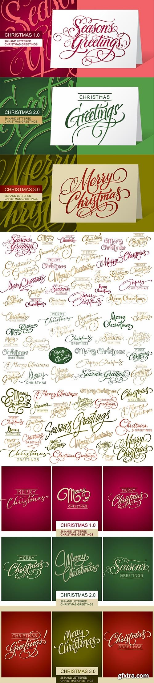 FM Christmas 1.0, 2.0 & 3.0 Hand Lettered Greetings 3xOTF $60