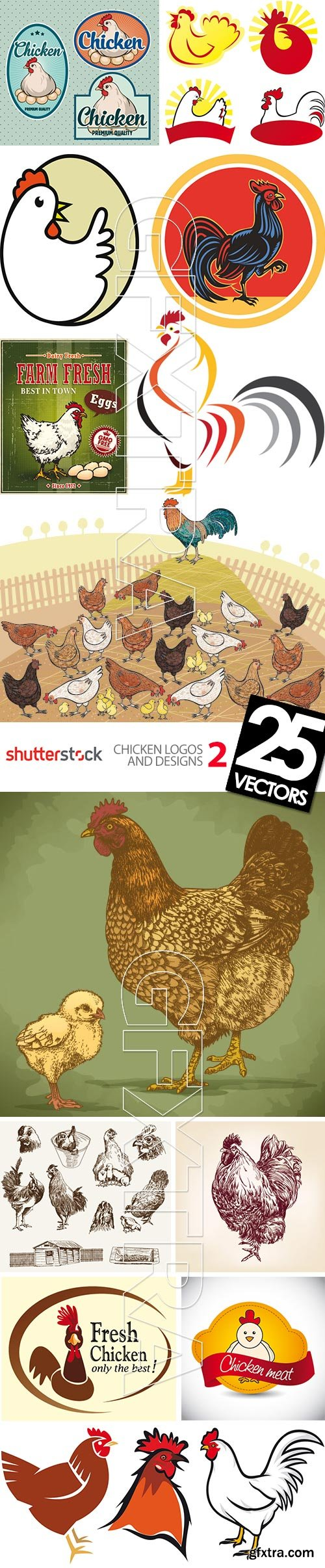 Chicken Logos & Designs 2, 25xEPS