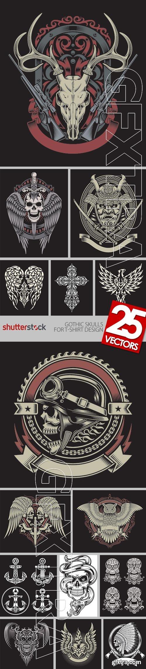Gothic Skulls for T-Shirt Design 25xEPS