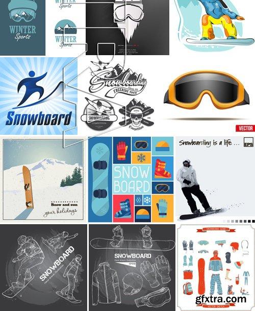 Stock Vectors - Snowboarder 2, 25xEPS