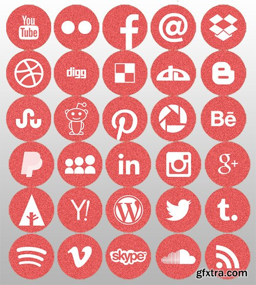 PSD Web Icons - Red Color Style Round Flat Icons (November 2014)
