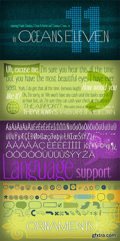Touch Tone Font Family - 4 Fonts 116$