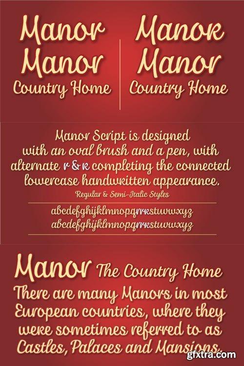 Manor Font Family $60