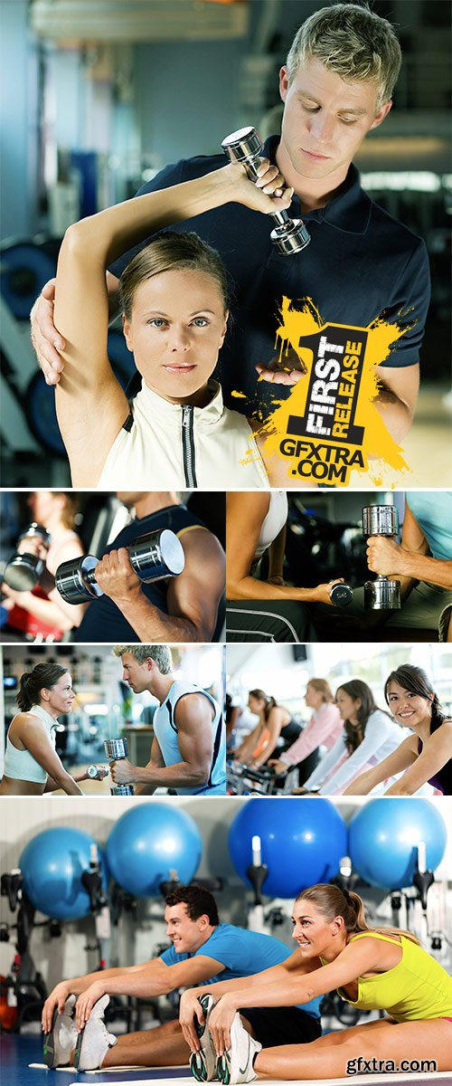 Fitness Couple in gym - Stock Image