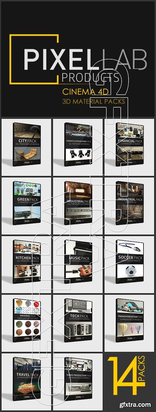 The Pixel Lab - C4D Materials 14 Packs
