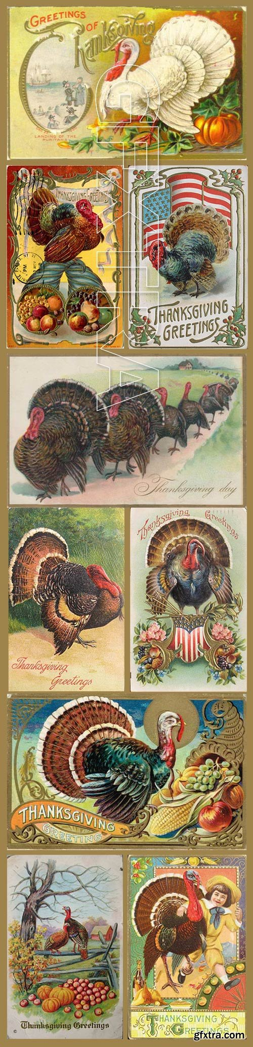 Vintage ThanksGiving Day Postcards Collection 193xJPG
