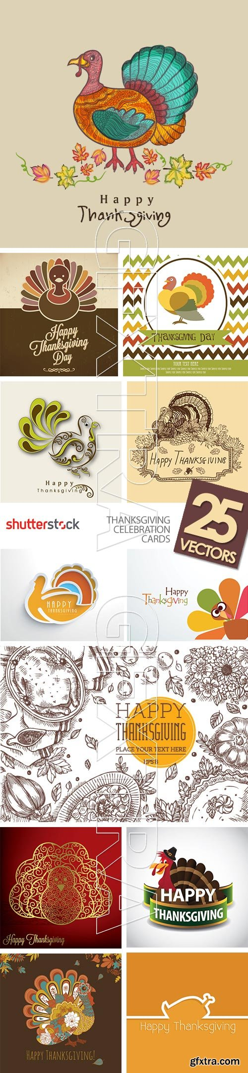ThanksGiving Celebration Cards 25xEPS
