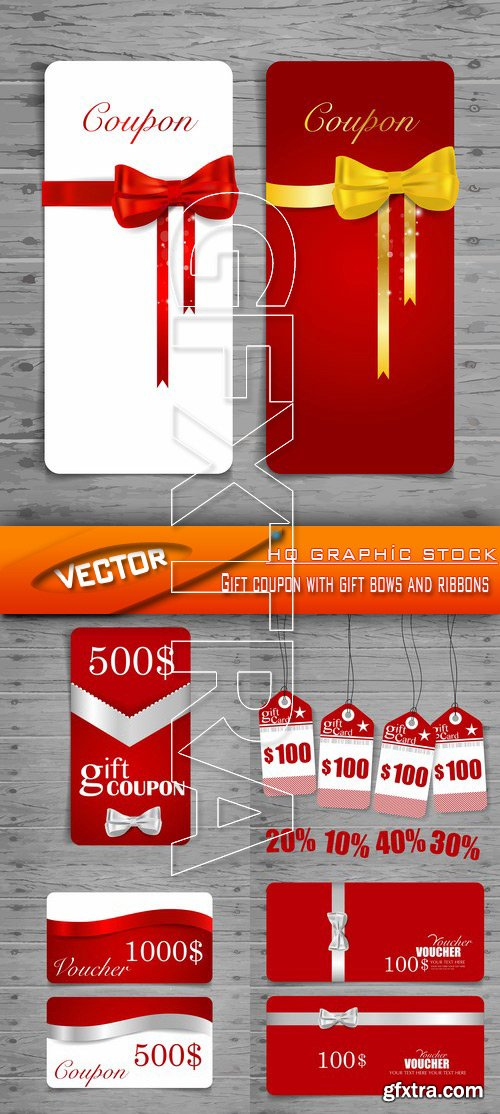 Stock Vector - Gift coupon with gift bows and ribbons