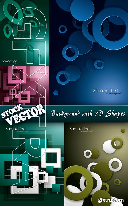 Stock Vector - Background with 3D Shapes