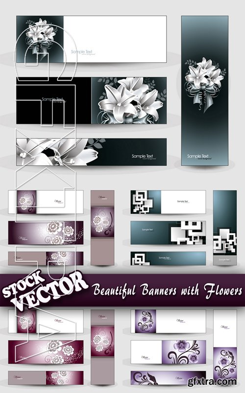 Stock Vector - Beautiful Banners with Flowers