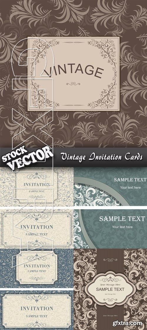 Stock Vector - Vintage Invitation Cards
