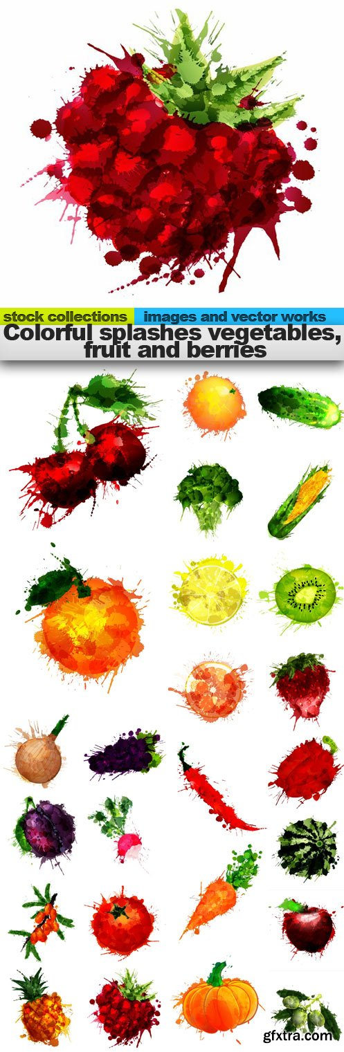 Colorful splashes vegetables, fruit and berries, 25 x EPS