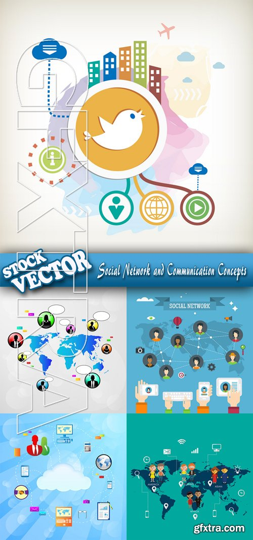 Stock Vector - Social Network and Communication Concepts