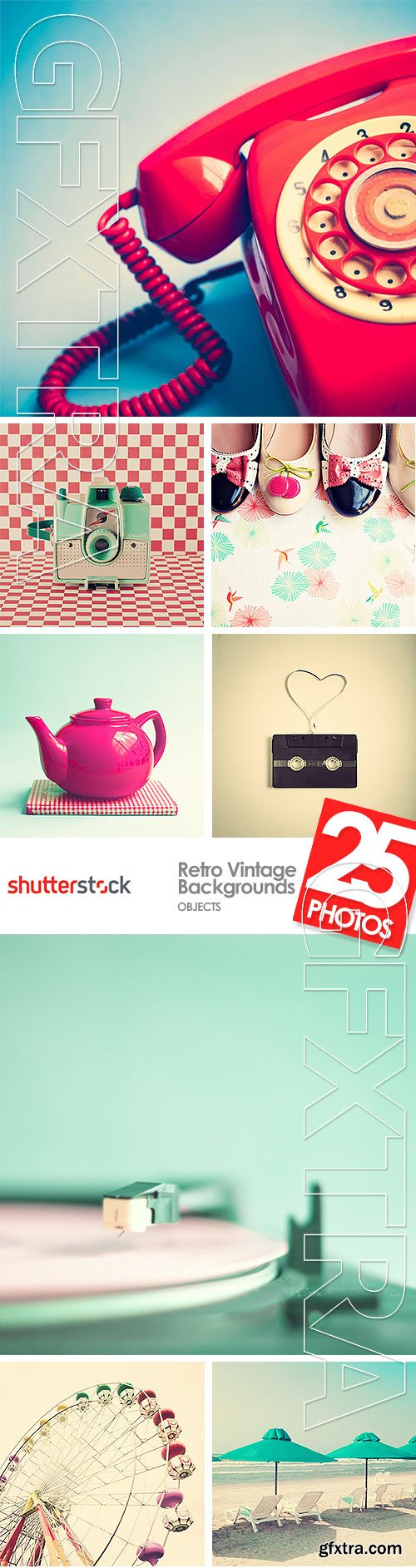 Retro Vintage Backgrounds - Objects 25xJPG