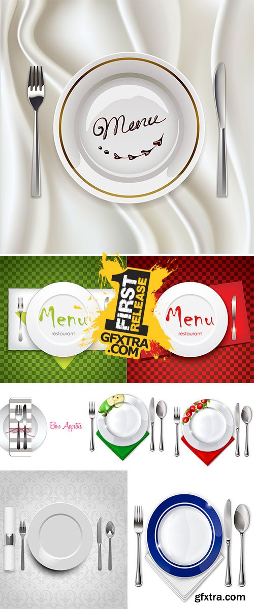 Stock Empty plate with spoon, knife and fork on a white background vector