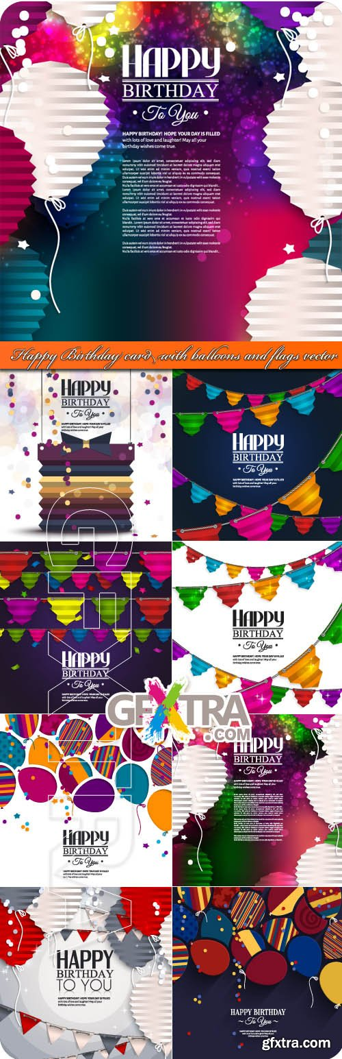 Happy Birthday card with balloons and flags vector