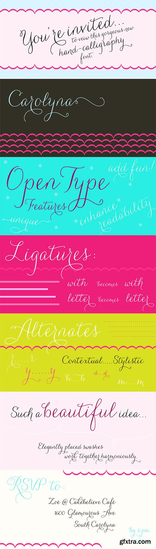 Carolyna Font Family 3 Handwritten Calligraphy Fonts $204