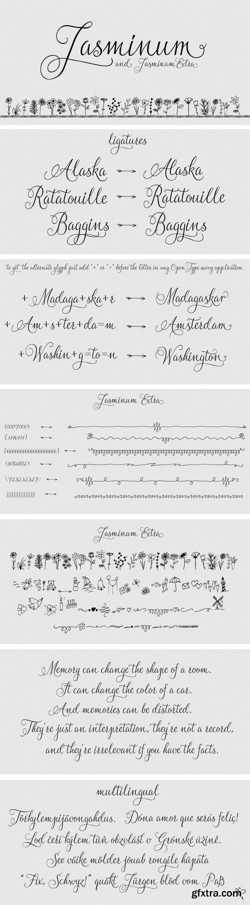 Jasminum Font Family - 2 Fonts for $28