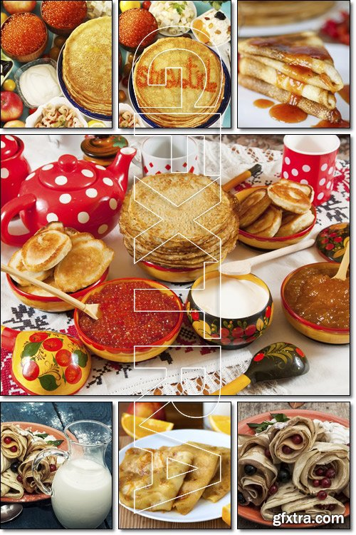 Traditional Russian pancakes with different fillings, red caviar - Stock photo