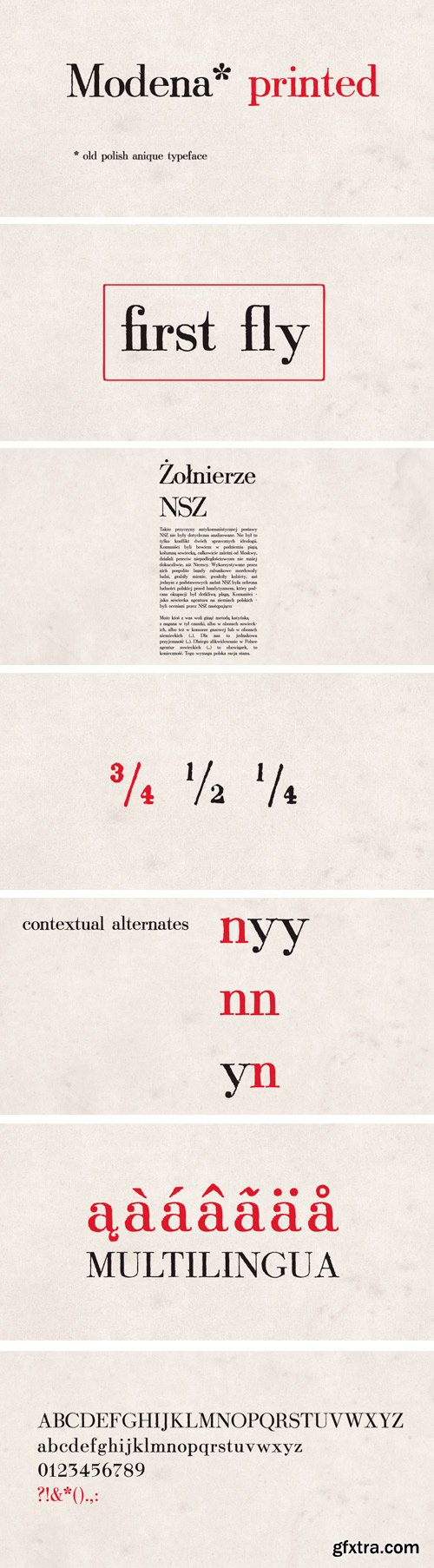 Modena Printed Font for $25