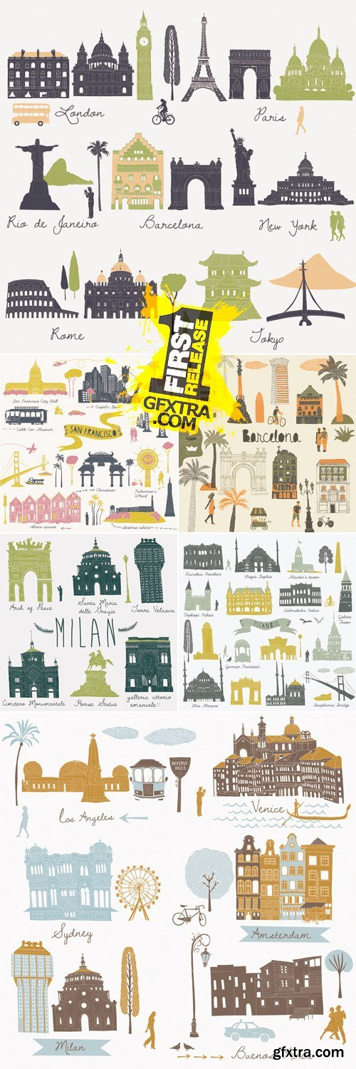Travel & Tourism Locations Icons Vector