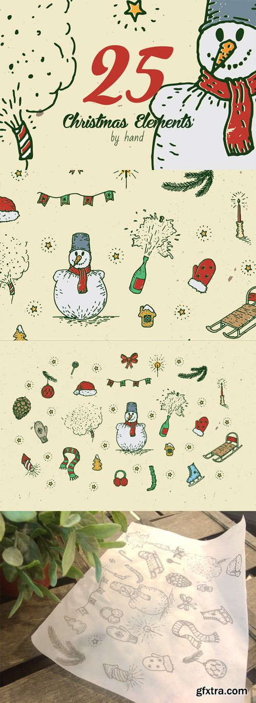 CreativeMarket - 25 Christmas elements by hand vol.2 114547