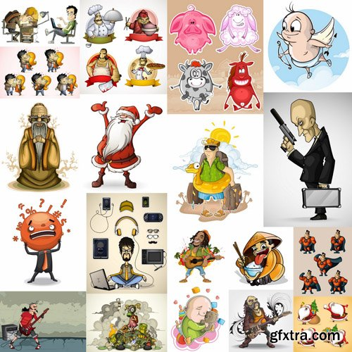 Funny Cartoon Character #2 - 30 Vector