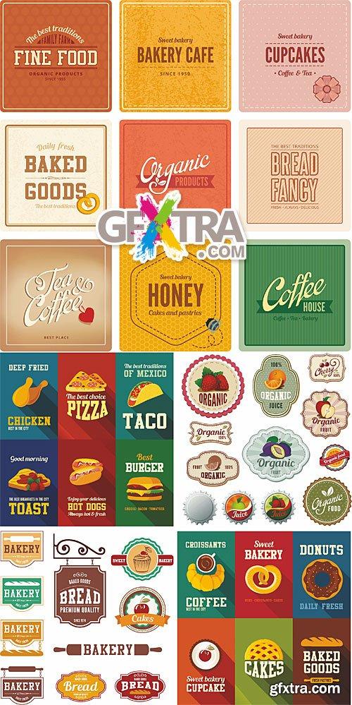 Bakery, fastfood, fruits - vintage design templates