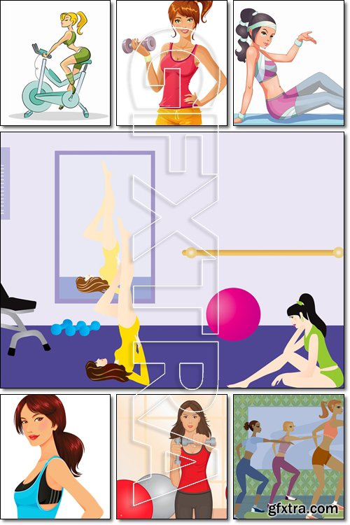 At the Gym, Woman fitness - Vector