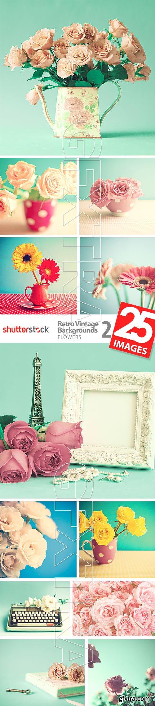 Retro Vintage Backgrounds 2 - Flowers 25xJPG