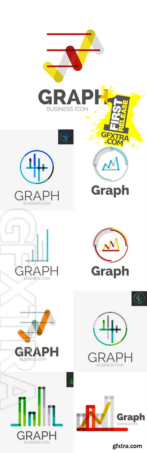 Vector - Minimal Line Design Logo, Chart, Graph Icon