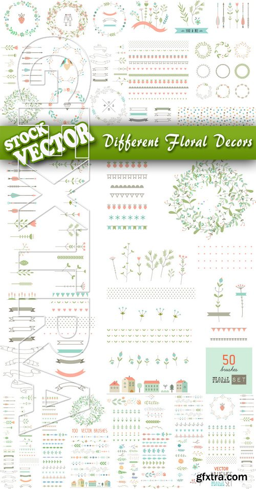 Stock Vector - Different Floral Decors
