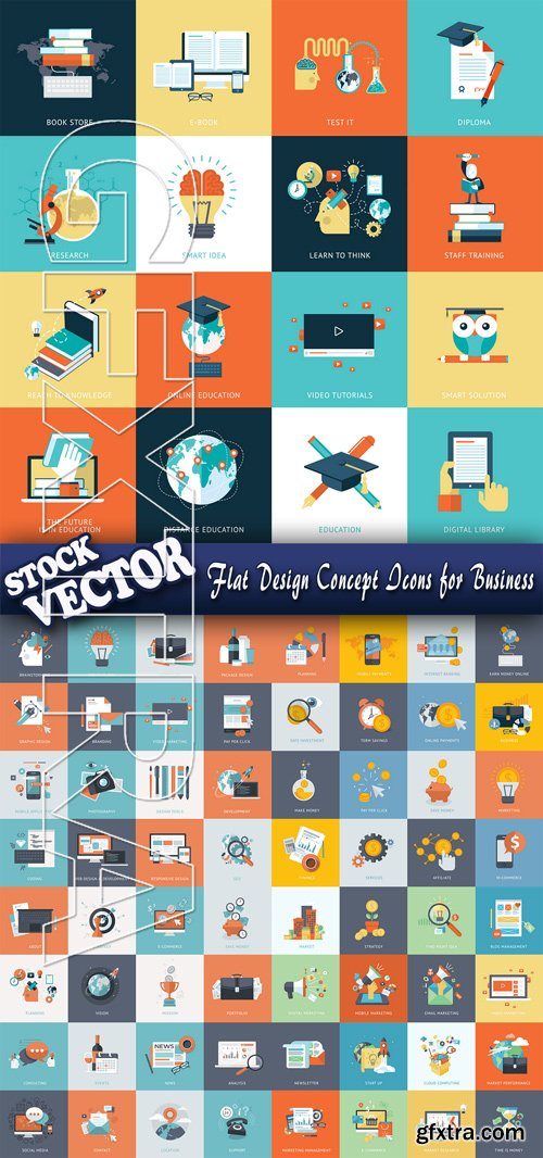 Stock Vector - Flat Design Concept Icons for Business