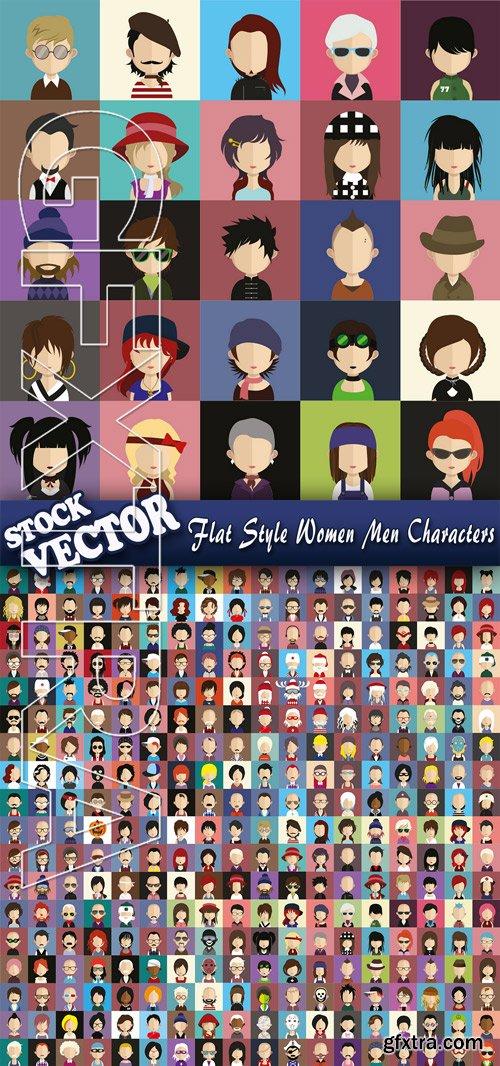 Stock Vector - Flat Style Women Men Characters