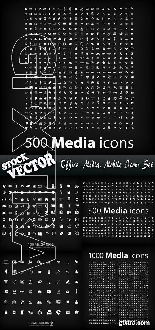 Stock Vector - Office ,Media, Mobile Icons Set