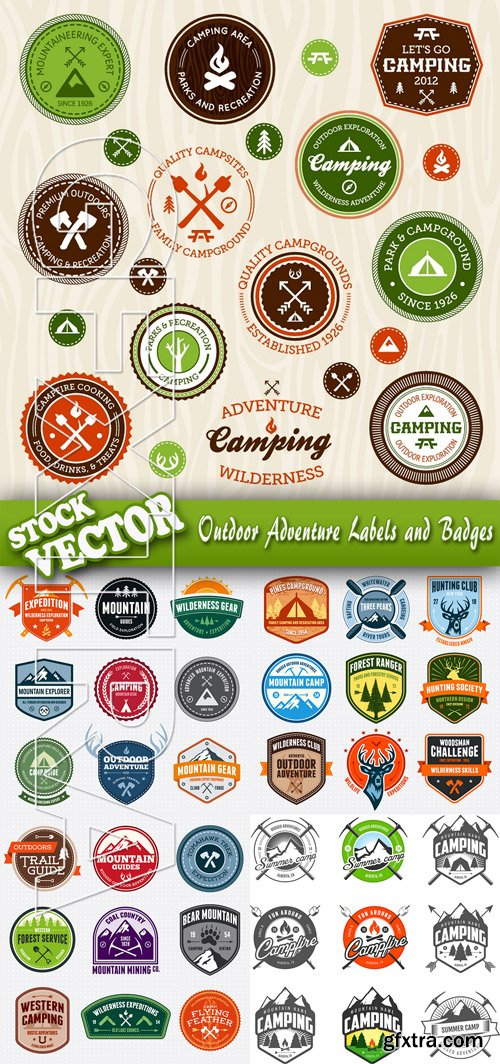 Stock Vector - Outdoor Adventure Labels and Badges