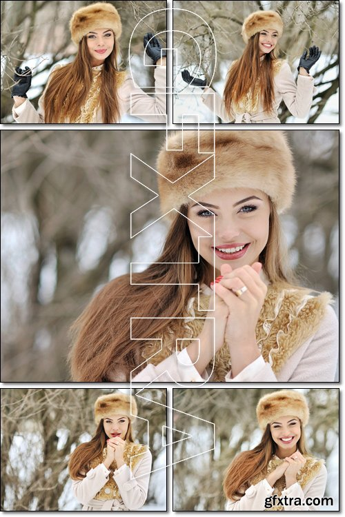 Winter girl in the park - Stock photo